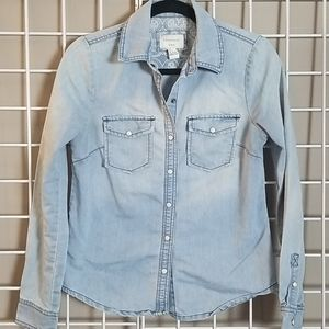 Forever 21 Western Style Snap Front DENIM Shirt